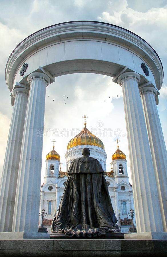 Monument to Russian Emperor Alexander II. Monument to Emperor Alexander II and Christ the Saviour Cathedral in Moscow. Russia. The sculptor A. Rukavishnikov