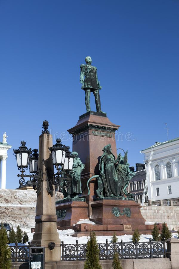 Monument to Russian Emperor Alexander II in Helsinki, Finland.  royalty free stock photography