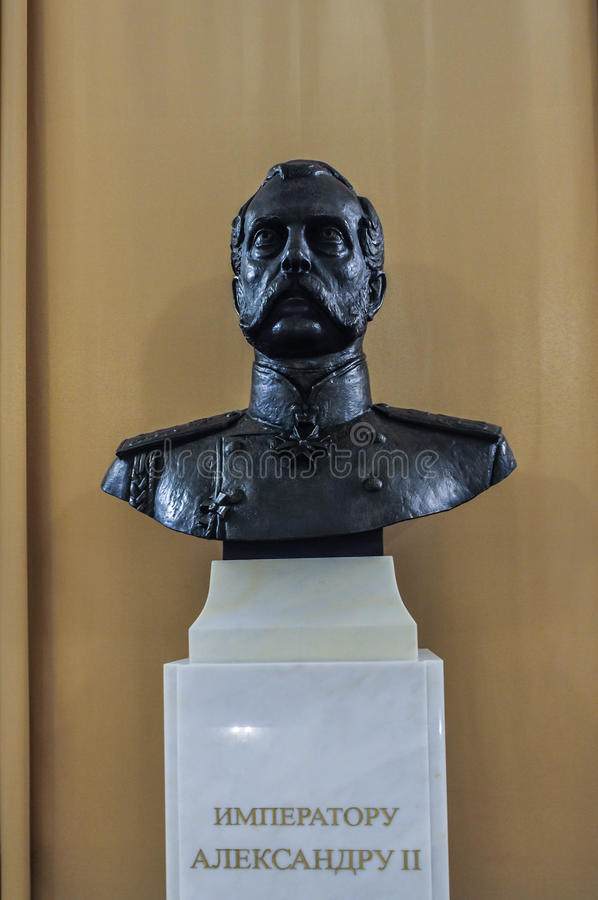 Monument to Russian emperor Alexander II in the interior of the Art Museum of Veliky Novgorod, Russia stock photography