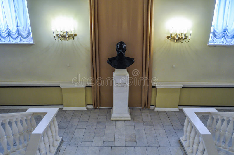 Monument to Russian emperor Alexander II in the interior of the Art Museum of Veliky Novgorod, Russia stock image