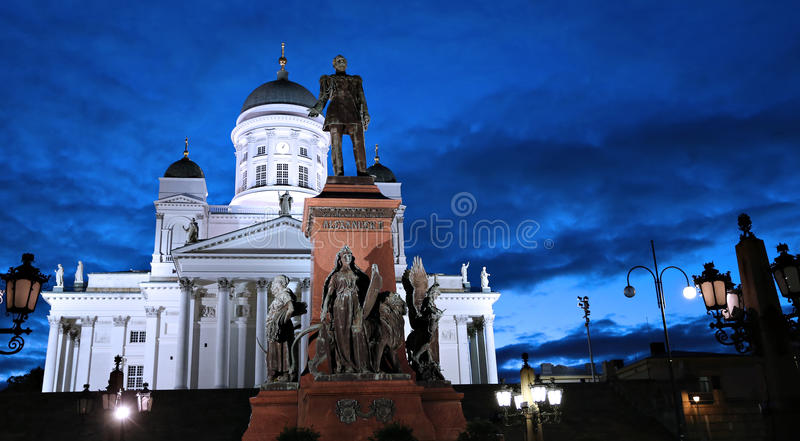 Monument to Russian Emperor Alexander II on the Senate Square stock image