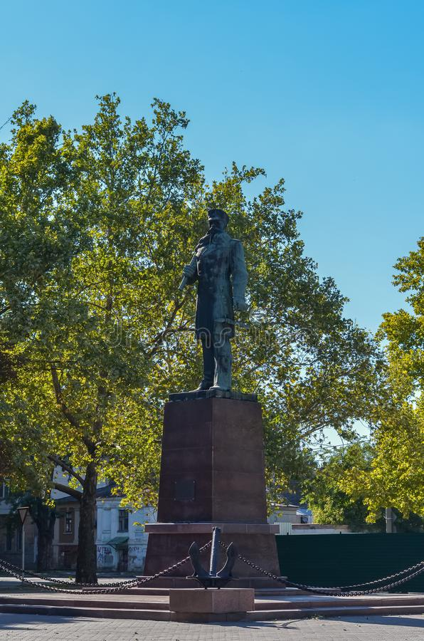 Monument to Vice-Admiral S. O. Makarov. Ukraine. Nikolaev Fleet Boulevard. stock photos