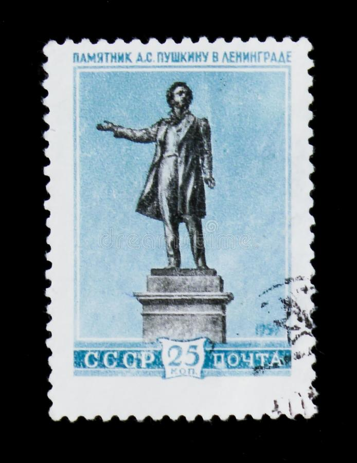 Monument to russian poet A. Pushkin in Leningrad, circa 1959. MOSCOW, RUSSIA - JUNE 26, 2017: A stamp printed in USSR Russia shows a monument to russian poet A stock photos