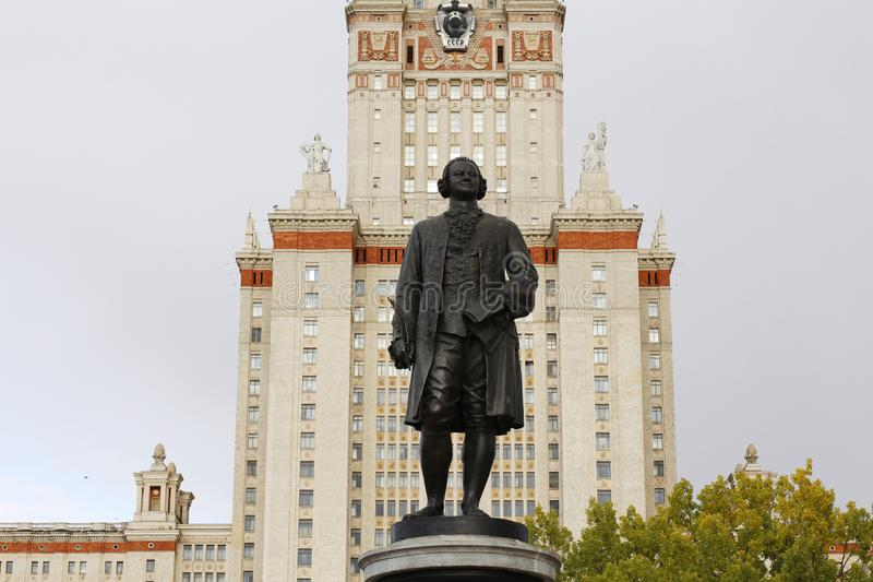 Monument to the scientist Mikhail Lomonosov. Main building. Russia. Monument to the scientist Mikhail Lomonosov. The monument is in front of Moscow State royalty free stock images
