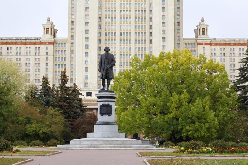 Monument to the scientist Mikhail Lomonosov. Main building. Russia. Monument to the scientist Mikhail Lomonosov. The monument is in front of Moscow State royalty free stock photo