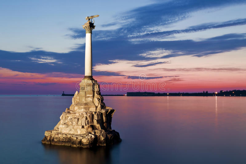 Monument to the scuttled ships at sunset stock photo