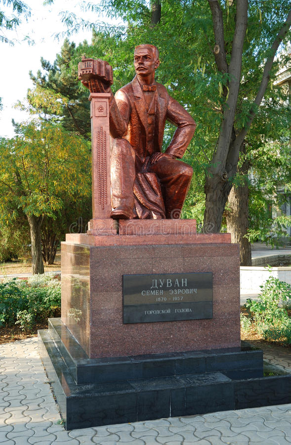 The monument to Semyon Duvan in Yevpatoriya. Crimea. The monument to Semyon Duvan (1870 - 1957), the mayor of Yevpatoriya in 1906 - 1910 years. Yevpatoriya stock photography