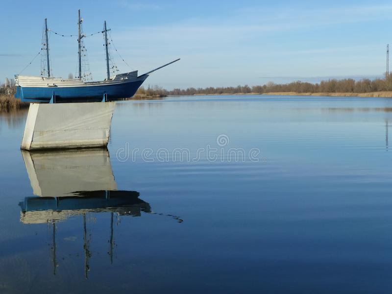 Monument to the ship in the Dnieper River stock photo