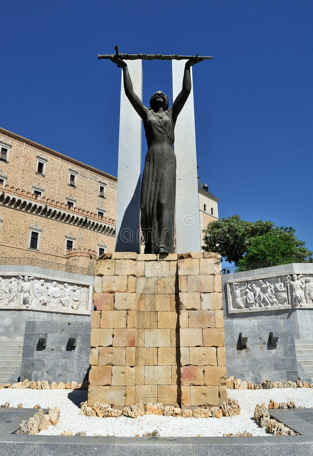 Monument to the siege at Alcazar, Toledo, Spain stock photography