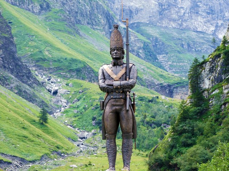 Monument to the simple Russian soldier or Denkmal für den einfachen russischen Soldaten, Elm. Canton of Glarus, Switzerland stock photo