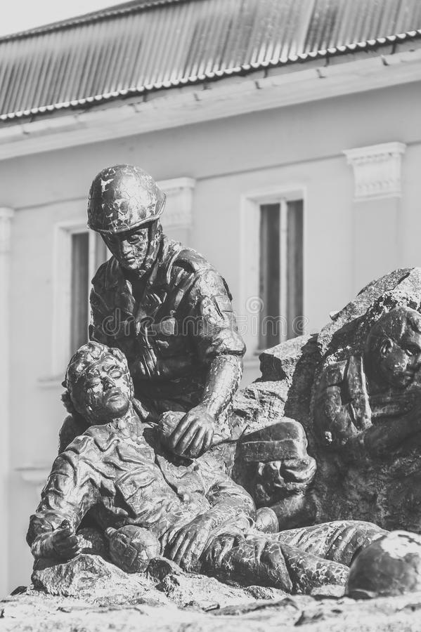 Monument to the soldiers-afghans. CHASOV YAR, UKRAINE - MARCH 9, 2017: Part of the monument to the soldiers-afghans in the center of the city stock image
