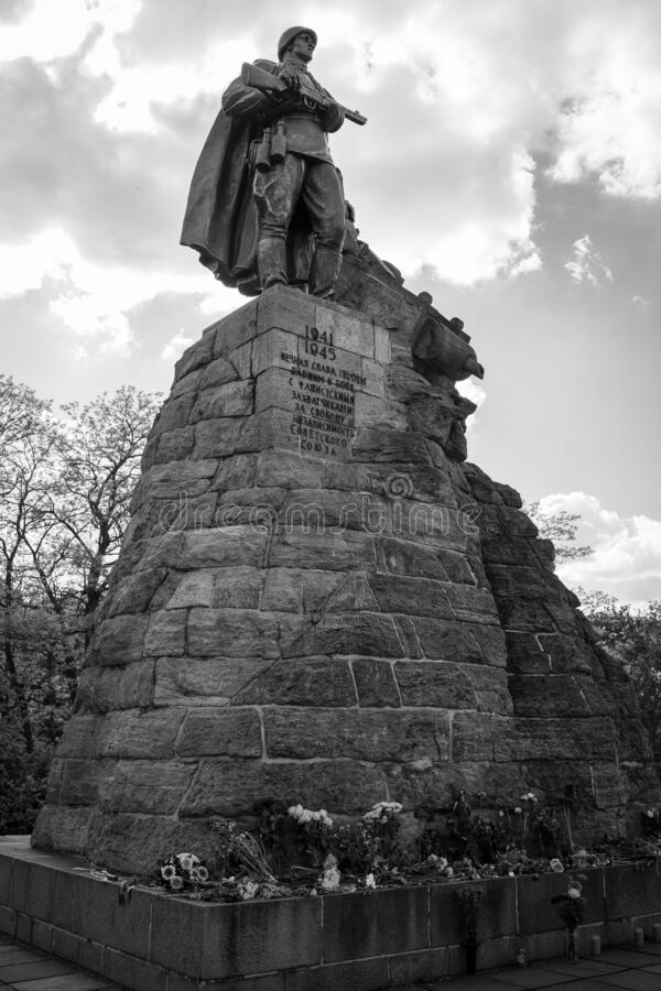 Monument to Soviet soldiers at the site of the Battle of the Seelow Heights. SEELOW, GERMANY - MAY 09, 2020: Monument to Soviet soldiers at the site of the stock photos