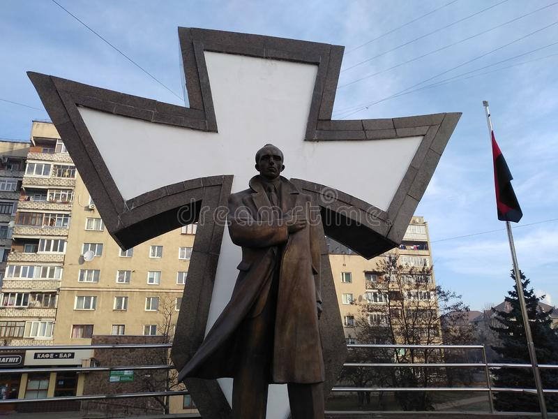 Monument to Stepan Bandera in Ivano-Frankivsk. royalty free stock images