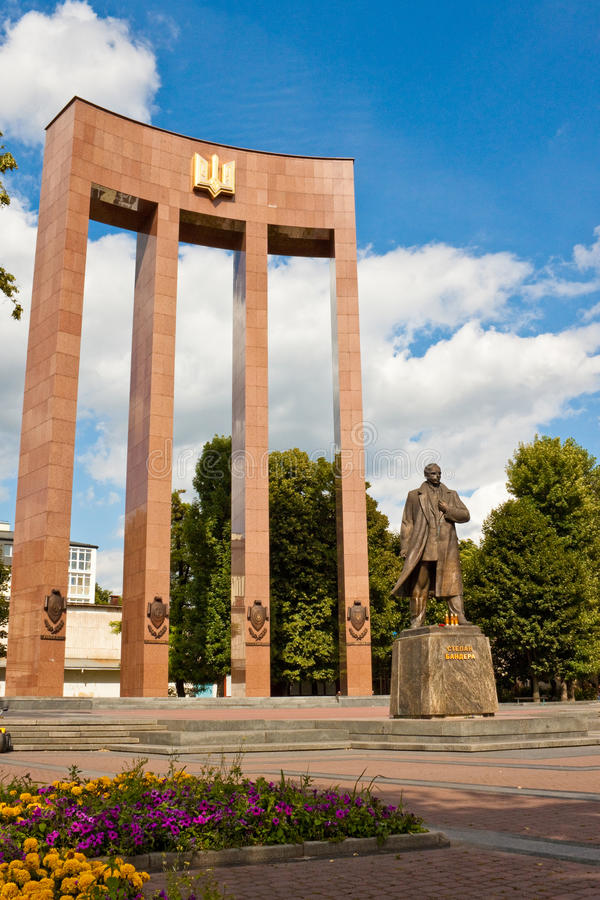 Monument to Stepan Bandera in Lviv, Ukraine. royalty free stock images