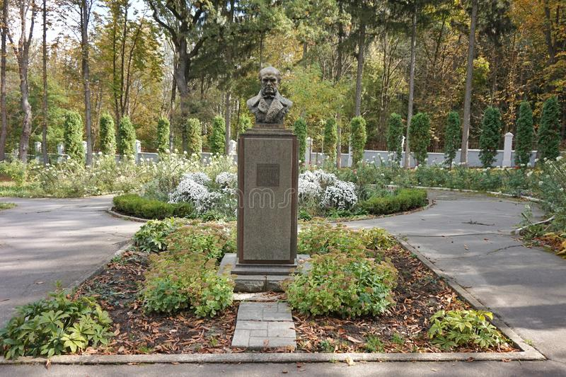 Monument to the surgeon Nikolai Pirogov in the museum-estate. In Vinnitsa stock photography