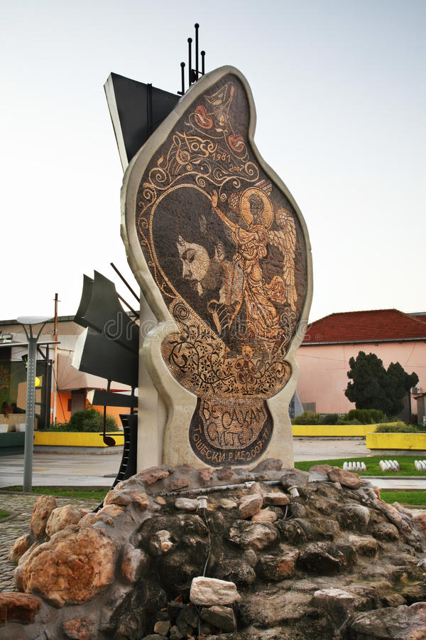 Monument to Todor Tose Proeski in Prilep. Macedonia.  stock images