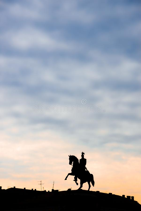 Monument to Tsar Nicholas I in St. Petersburg stock photography