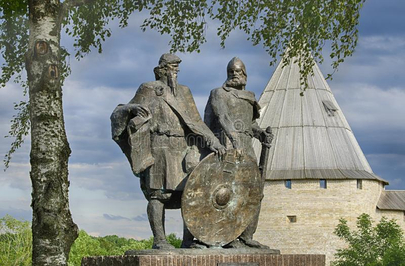 Monument to the two princes Rurik and Oleg stock photos