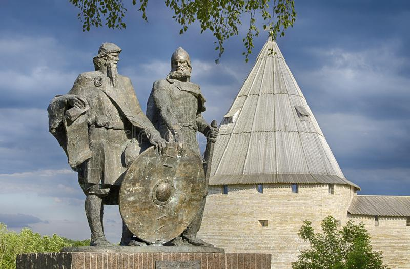 Monument to the two princes Rurik and Oleg royalty free stock image