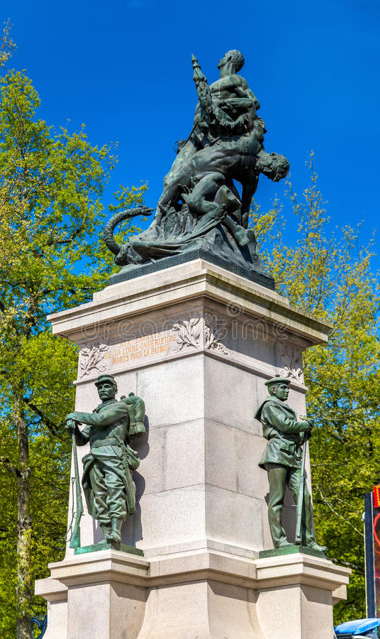 Monument to the victims of the Franco-Prussian War in Nantes, France. Monument to the victims of the Franco-Prussian War in Nantes - France, Loire-Atlantique royalty free stock photo