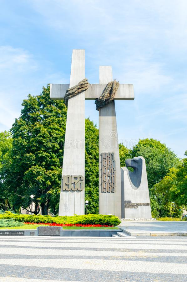 Monument to the victims of june 1956 Poznan crosses at Adam Mickiewicz square. Poznan, Poland - August 19, 2018: Monument to the victims of june 1956 Poznan royalty free stock images