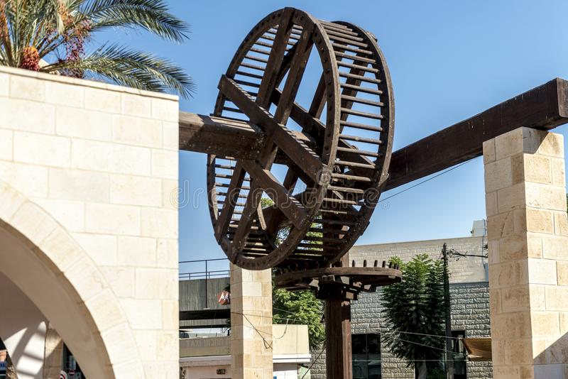 Monument to the wheel of a water mill in Beer Sheva Israel royalty free stock photos