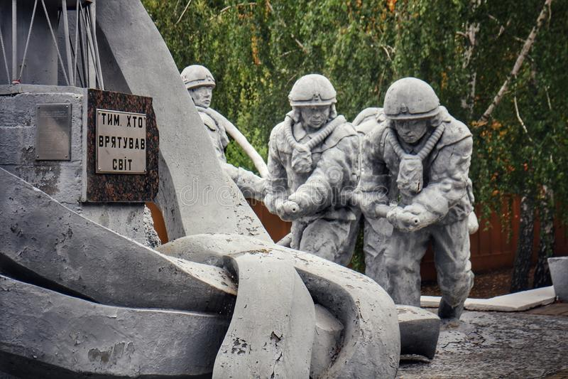 Monument to & x22;Those who saved the world& x22;, dedicated to the firefighters in the Chernobyl nuclear desaster royalty free stock photo