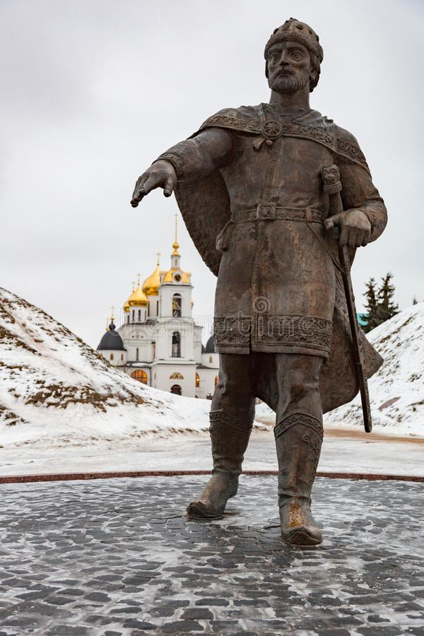 Monument to Yuri Dolgoruky, Dmitrov, Russia royalty free stock images
