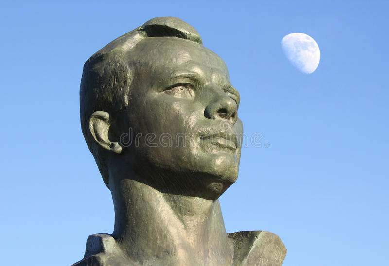 Monument to Yuri Gagarin in the Alley of Cosmonauts, Moscow, Russia. Monument to Yuri Gagarin in the Alley of Cosmonauts, Russia stock photo
