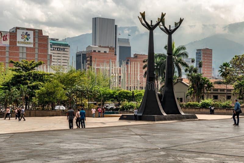 Monument a tribute to Doctors Guillermo Gaviria and Gilberto Echeverri, in the Alpujarra square the administrative center of Anti. Medellin, Colombia – royalty free stock photo