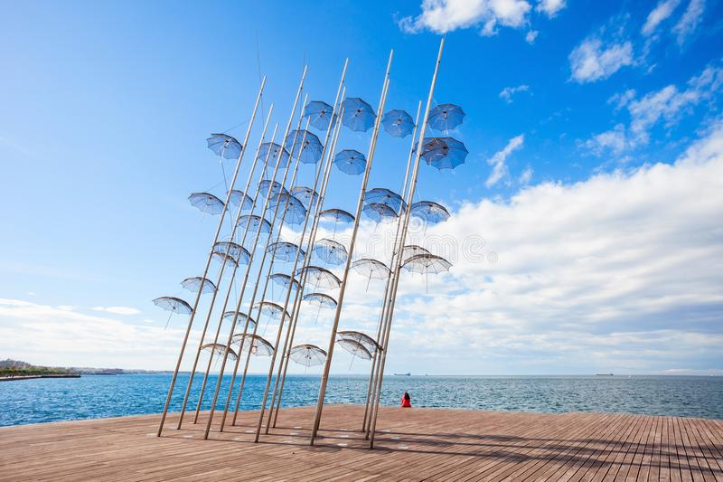 Monument Umbrellas in Thessaloniki. The sculpture Umbrellas by George Zongolopoulos are located at the New Beach in Thessaloniki, Greece royalty free stock photo