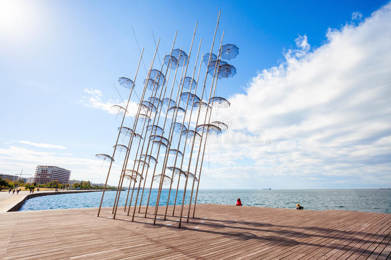 Monument Umbrellas in Thessaloniki. The sculpture Umbrellas by George Zongolopoulos are located at the New Beach in Thessaloniki, Greece stock images