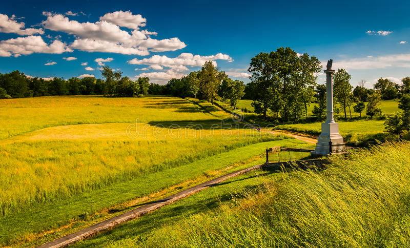 Monument und Felder an nationalem Schlachtfeld Antietam, Maryland stockbilder