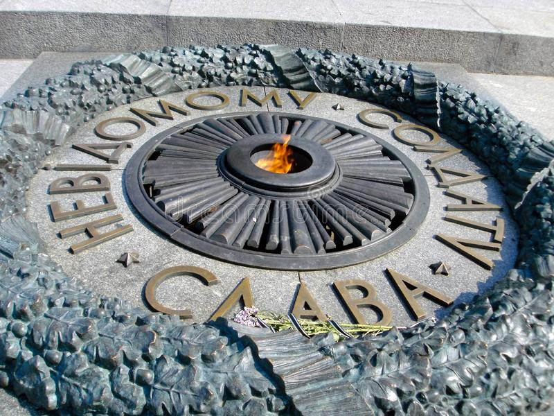 Monument of the unknown soldier in kyiv ukraine stock image