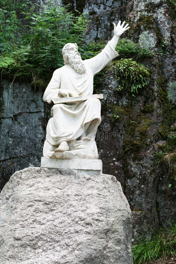 Monument Vainamoinen - hero-narrator of Kalevala stock images