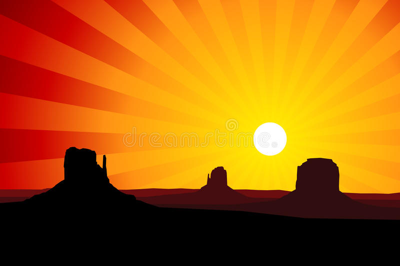 Monument Valley Arizona at Sunset, EPS8 Vector. Silhouette of the rock formations of Monument Valley Arizona, USA against a red sunset sky. With radial gradients vector illustration
