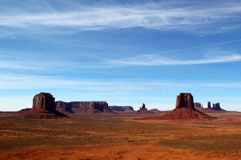 Monument Valley on the border between Arizona and Utah in United States. Beautiful day in Monument Valley on the border between Arizona and Utah in United States royalty free stock images
