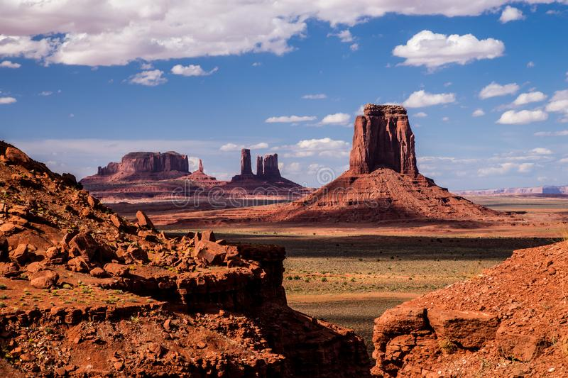 Monument Valley Iconic Landscape. Iconic Old West landscape at Monument Valley in the Navajo Nation royalty free stock image