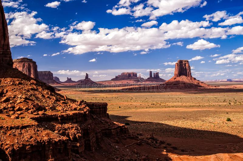Monument Valley Iconic Landscape. Iconic Old West landscape at Monument Valley in the Navajo Nation stock photo