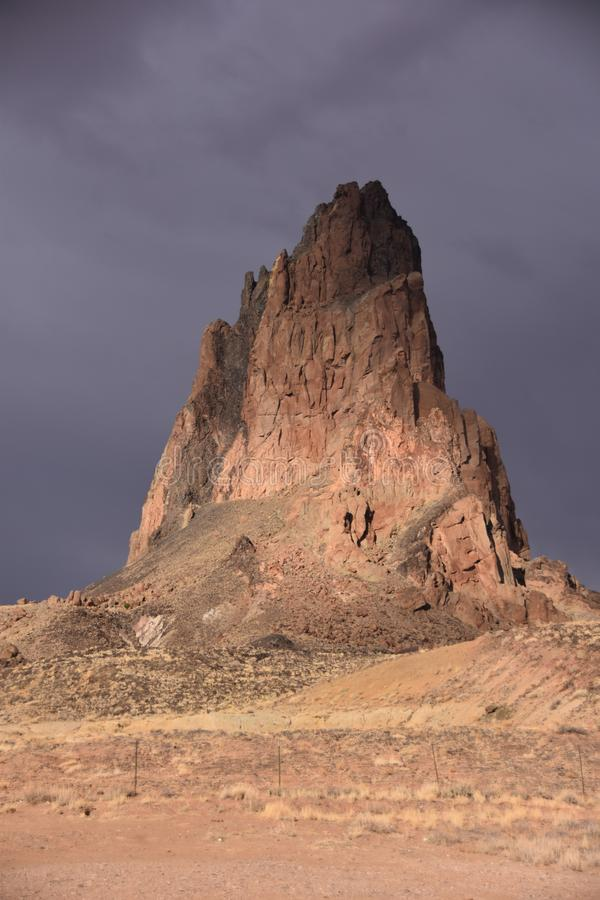 Monument Valley Monolith Stands Shrouded in Monsoon Mystery royalty free stock images