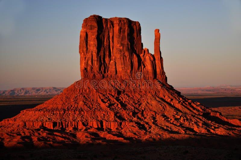 Monument Valley Navajo Indian Tribal Park Panorama. View the Monument Valley from Navajo Indian Tribal Park Visitor centre, Utah and Arizona stock photo