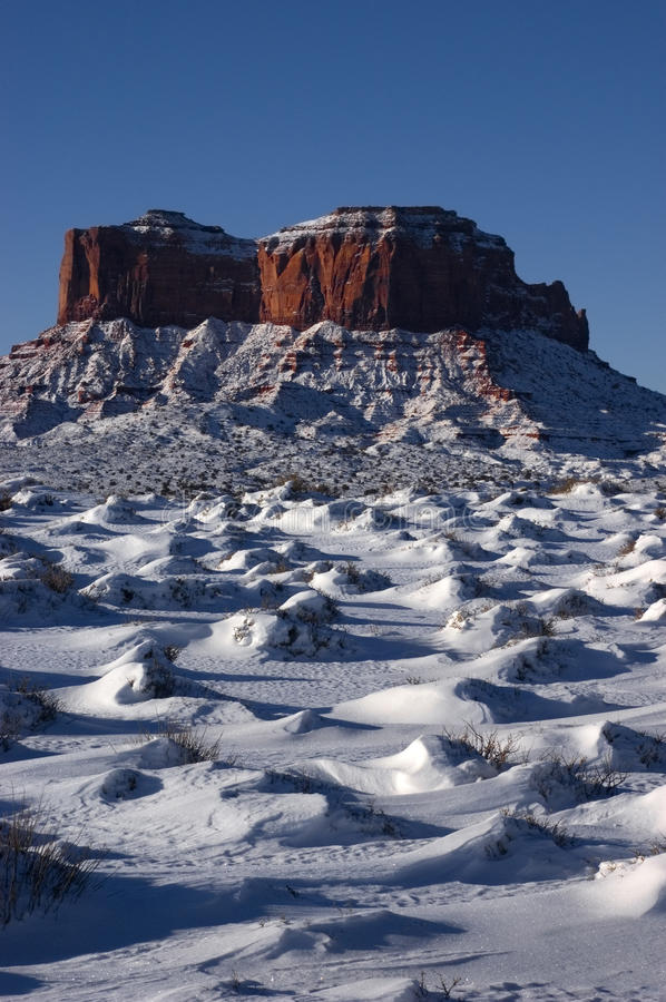 Monument Valley Navajo Indian Tribal Park, Winter. View of some buttes at the Monument Valley Navajo Indian Reservation Tribal Park. Many John Ford western stock photos