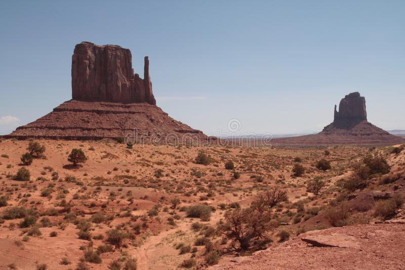 Monument Valley navajo tribal park, Arizona. View of Monument Valley, with sunny sky royalty free stock photography