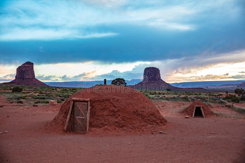 Monument Valley, Navajo typical homes in the Arizona-Utah border, USA stock photos