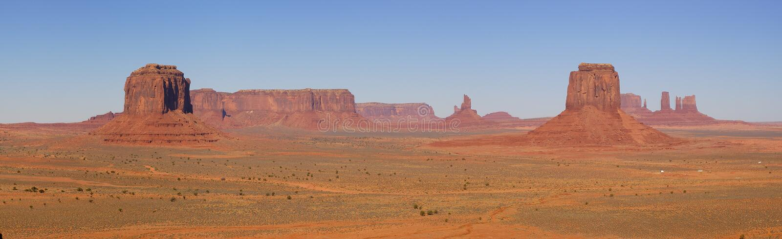 Monument Valley Panorama With 5 Mesas stock photography