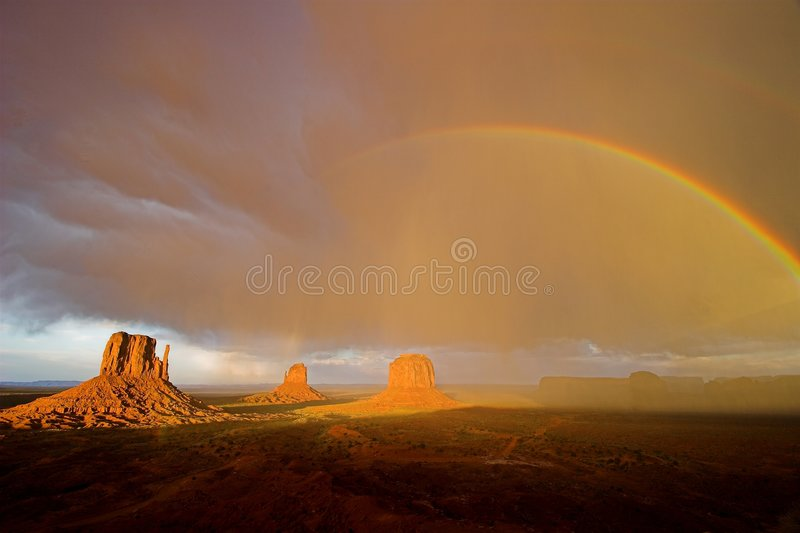 Monument Valley Rainbow stock photography