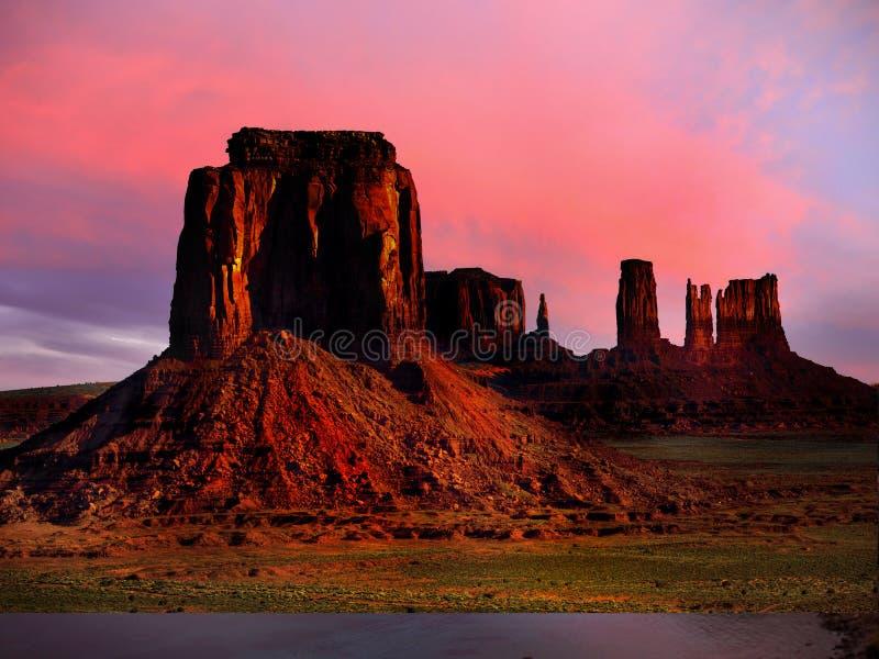 Sunset Desert Landscape, American Southwest. Monument Valley - Scenic desert landscape at sunset. American Southwest. Arizona Utah stock images