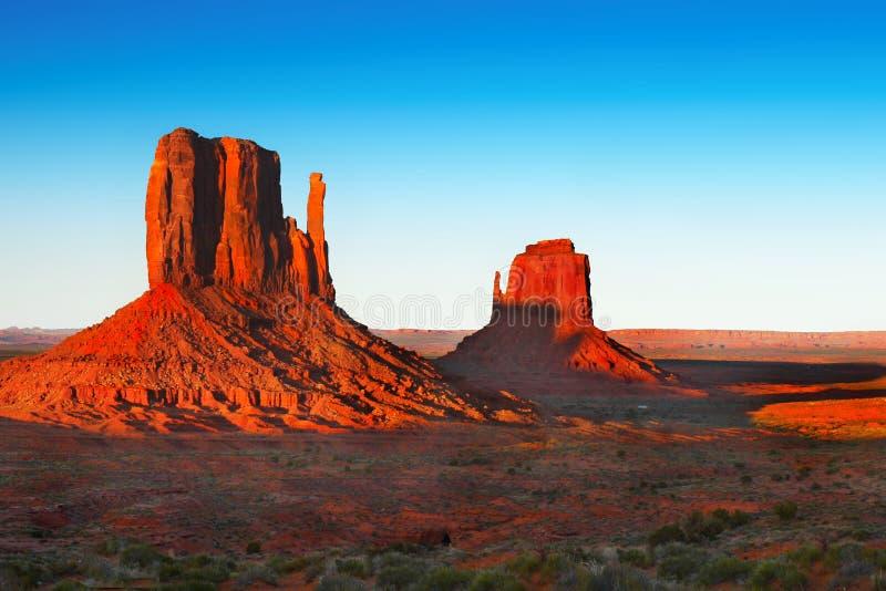 Sunset Desert Landscape, American Southwest. Monument Valley - Scenic desert landscape at sunset. American Southwest. Arizona Utah royalty free stock images