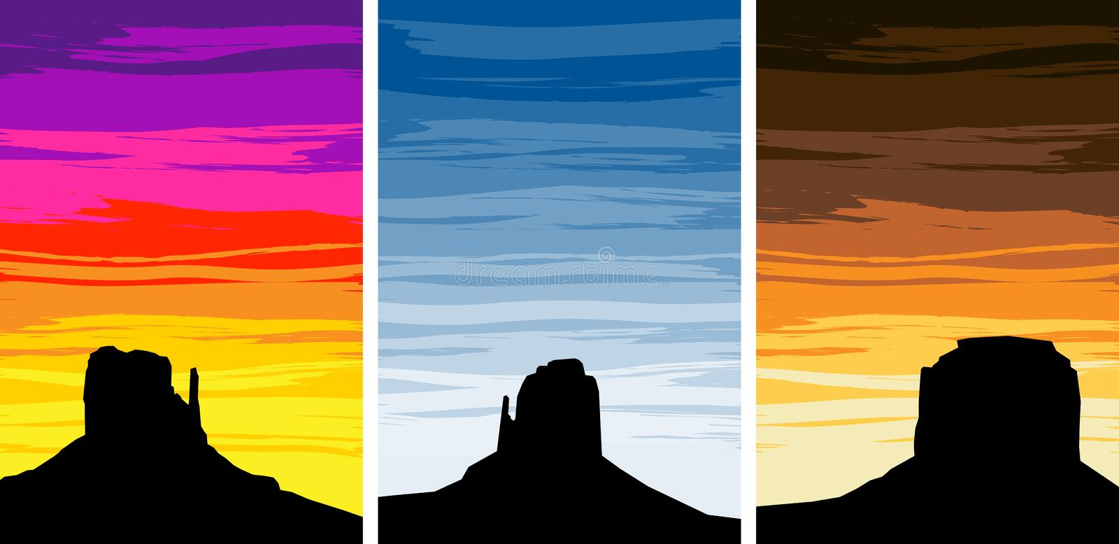 Download Monument Valley Silhouettes At Sunset Stock Vector - Image: 38847919