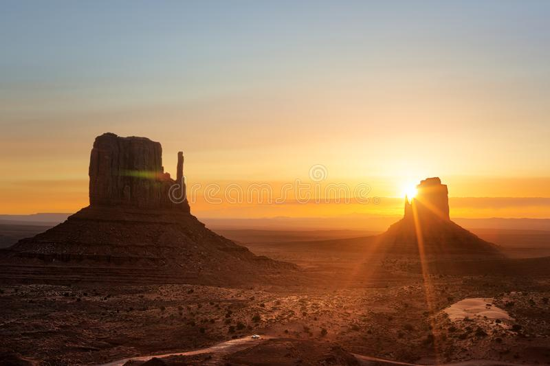 Monument Valley at sunrise stock photography